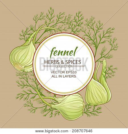 fennel plant vector frame on color background