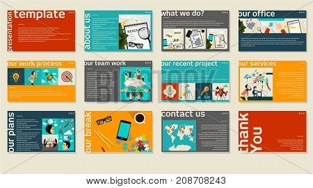 Business web presentation template. Vector design multipurpose presentation template info graphic elements for slides, business marketing, brochure, flyer, web design and banner, company presentation.