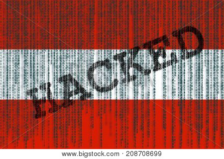 Data Hacked Austria Flag. Austria Flag With Binary Code.
