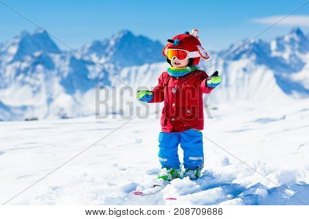 Kids Winter Snow Sport. Children Ski. Family Skiing.