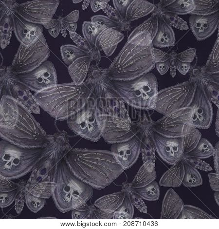 Watercolor drawing of a butterfly night butterfly, a terrible butterfly on a Halloween holiday with a skull on its wings and bones, a wrist of a skeleton, a furry butterfly