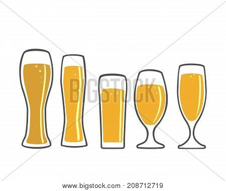 A set of beer glasses and beer mugs icons.  Vector design elements for printing and web