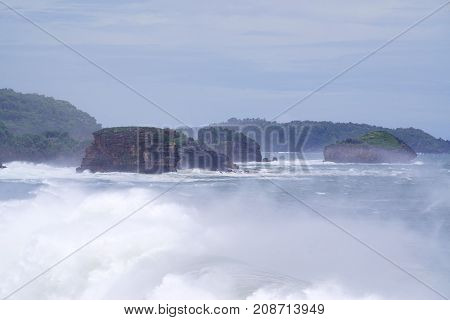 Timang extreme beach in Gunungkidul nearby crossing to Watu panjang island in Yogyakarta Indonesia.