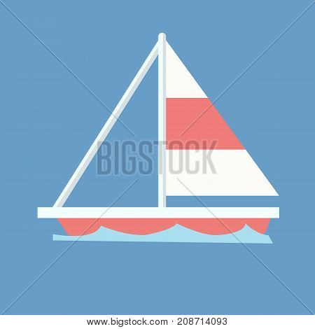 Sailboat with blue wave and isolated background vector.Ship on wave