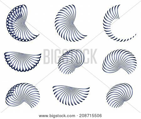 set of abstract design elements vector blue 3d stripes isolated illustration