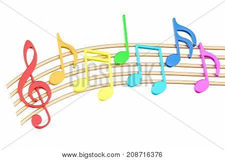 Colorful Music Notes 3D rendering isolated on white background