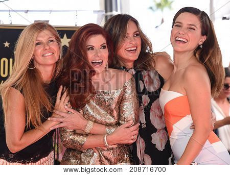 LOS ANGELES - OCT 06:  Connie Britton, Debra Messing, Mariska Hargitay, Sophia Bush arrives for Debra Messing Hollywood Walk of Fame Star Ceremony on October 6, 2017 in Hollywood, CA