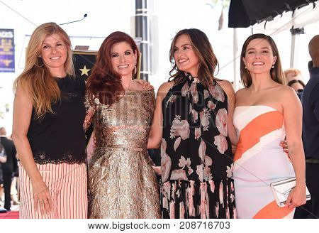LOS ANGELES - OCT 06:  Connie Britton, Debra Messing, Mariska Hargitay, Sophia Bush arrives for Debra Messing Hollywood Walk of Fame Star Ceremony on October 6, 2017 in Hollywood, CA