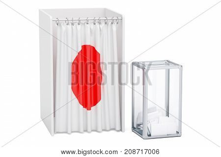 Japanese election concept ballot box and voting booths with flag of Japan 3D rendering