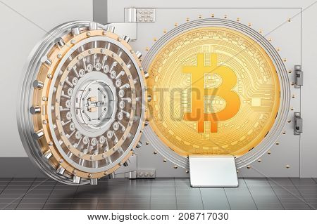 Opened bank vault with bitcoin 3D rendering
