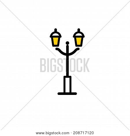 Outline streetlight icon. Isolated parks design element vector illustration on white background in lineart new moderm style