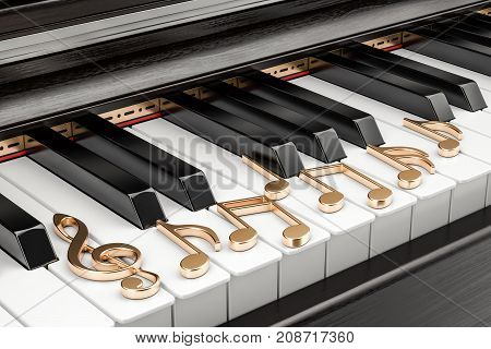 Piano keyboard with music notes music concept. 3D rendering