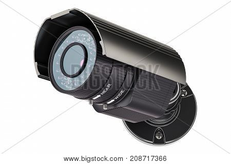 Security surveillance camera 3D rendering isolated on white background