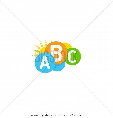 Vector logo template with idea colorful brain, sun and cloud. Circles and letters