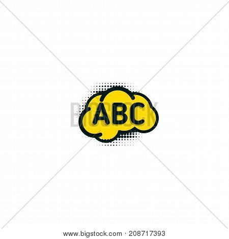 English school badge vector logo, language learning emblem icon with bubble speeches and a b c letters inside, symbol of speaking club translation education modern simple flat design abstract brain.
