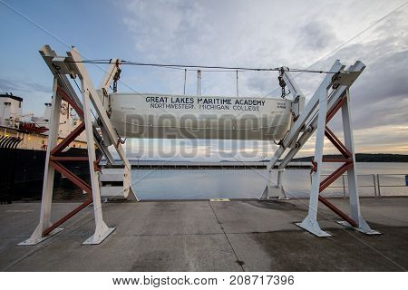 Traverse City, Michigan, USA - October 2, 2017: Harbor of the Great Lakes Maritime Academy of the Northwestern University campus in Traverse City, Michigan.