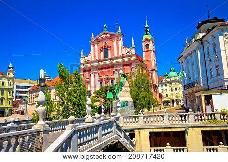 Presern Square In Ljubljana Riverfront View