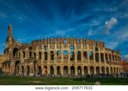 Colosseum with clear blue sky, Rome, Italy. Rome landmark and antique architecture