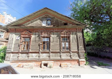 Nizhny Novgorod, Russia. - June 30.2016. Wooden House On The Street Nizhegorodskaya.