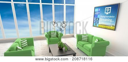 Various computer icons with progress bar on device screen against green sofas in living room at modern house
