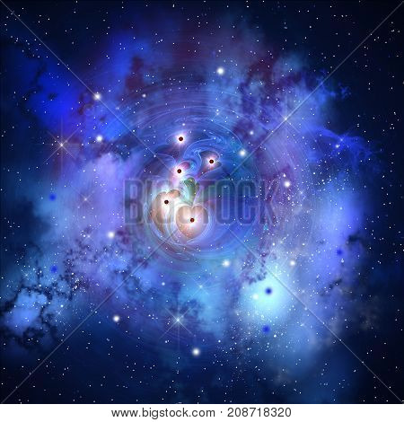 Deep Heart Nebula 3d illustration - A blue nebula with several heart shaped structures is composed of interstellar stars gasses and matter.
