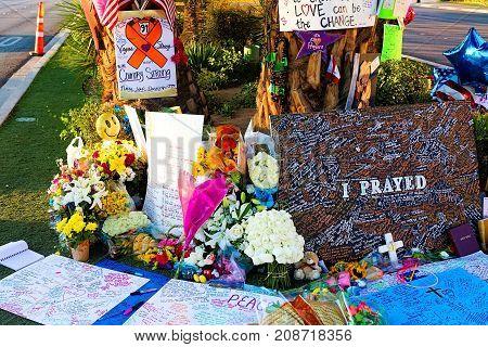 LAS VEGAS - OCT 07 ,2017 : Memorial Message of the Las Vegas Shooting victims on the Las Vegas Strip Near the Mandalay Bay.