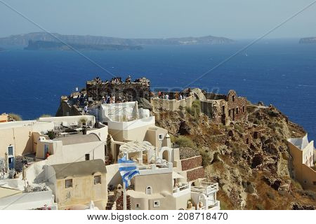A summer day on the fairytale island of Santorini in Greece