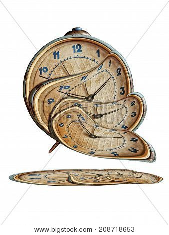 Liquid and flexible time concept.Surreal Alarm clock transforming and thawing.Isolated on white background.
