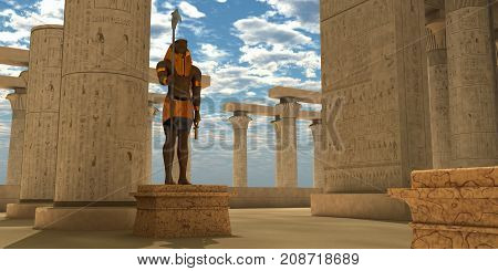 Egyptian Statue of Horus 3d illustration - The Egyptian god Horus in the form of a Falcon bird head represents the god of the sky war and hunting.