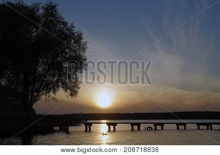 Sunset over Necko lake , podlasie, Poland.