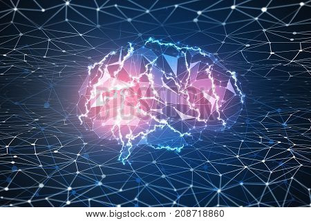 Abstract digital polygonal brain on mesh background. Artificial intelligence and innovation concept. 3D Rendering