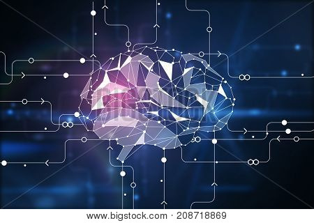 Abstract digital polygonal brain on circuit background. Artificial intelligence and innovation concept. 3D Rendering