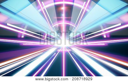 Glowing futuristic tunnel background. Technology and innovation concept. 3D Rendering