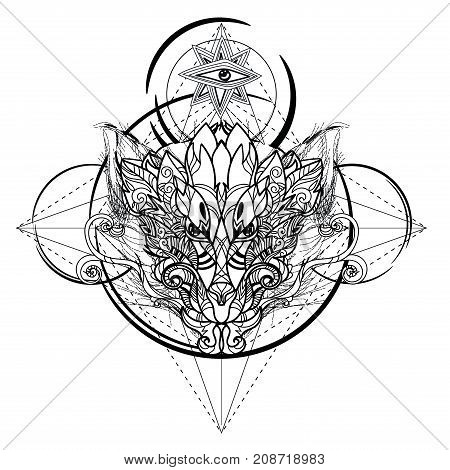 Animal head icon , geometric sketch line design. Vector illustration ready for tattoo or adult relax anti stress coloring book. Dragon head tattoo hand drawn