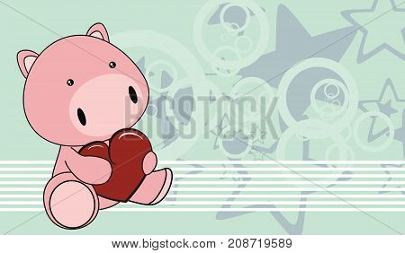 cute little baby pig cartoon background in vector format very easy to edit