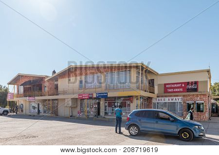KOOPMANSFONTEIN SOUTH AFRICA - JULY 7 2017: The shopping centre in Koopmansfontein a village in the Northern Cape Province of South Africa