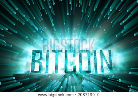 Creative blue bitcoin background. Cryptocurrency concept. 3D Rendering