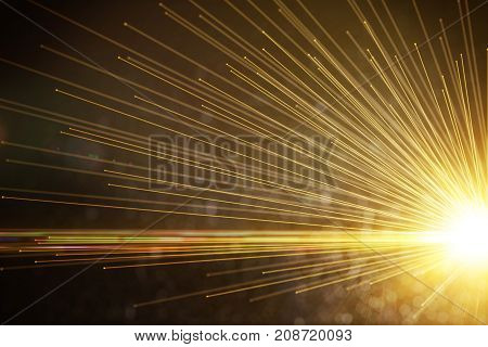Bright firework or golden ray background. Imagination space celebration concept. 3D Rendering