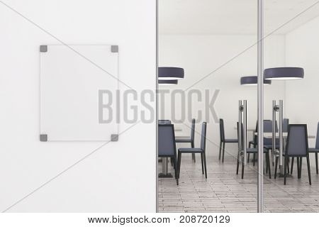 Clean Glass Billboard On White Wall