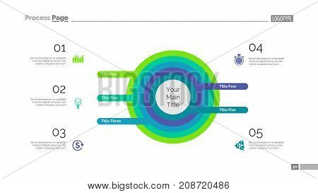 Five circles process chart. Business data. List, diagram, design. Creative concept for infographic, templates, presentation, marketing. Can be used for topics like management, banking, teamwork.