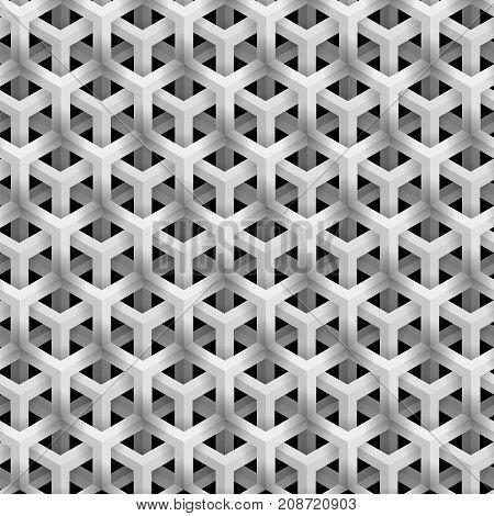 Grey Line Geometric Pattern on Black Background. Isometric Structure.