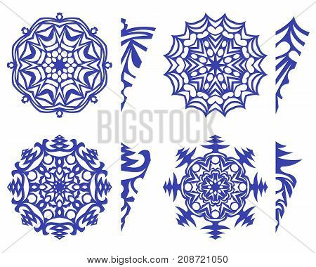 set of snowflakes for decoration and decor template for cutting out vector EPS10