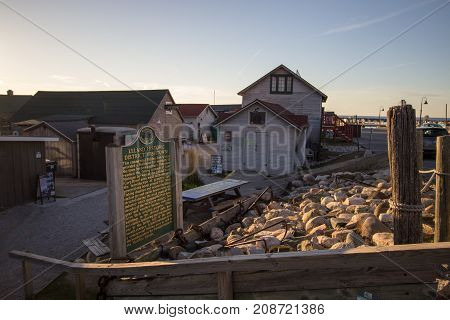 Leland, Michigan, USA - October 1, 2017: The historic commercial fishing village of Leland Michigan on the Lake Michigan coast is a popular tourist town in the Lower Peninsula of Michigan.
