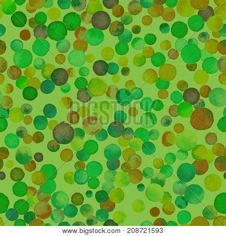 Watercolor Confetti Seamless Pattern. Hand Painted Decent Circles. Watercolor Confetti Circles. Ligh