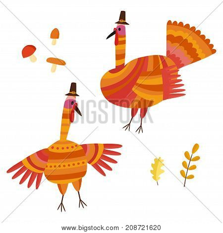Vector Thanksgiving set. Collection with autumn signs - turkey mushrooms oak leafs.