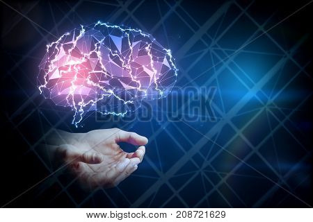 Hands holding digital glowing polygonal brain on dark blue background. Artificial intelligence and science concept. 3D Rendering