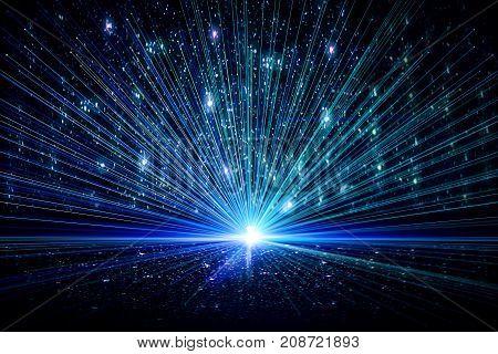 Blue firework or ray backdrop. Imagination space celebration concept. 3D Rendering