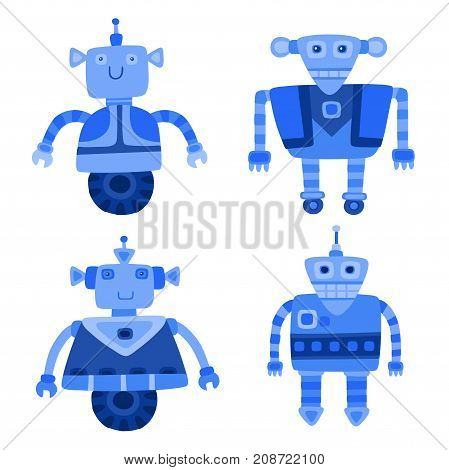 Set of different blue cute robots. Vector illustration isolated on white