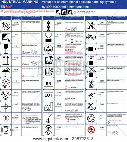 Industrial package marking Vector set of official ISO 7000 package handling icons symbols Package symbols icons application rules with illustrations examples. Packaging icons symbols set Cargo marking