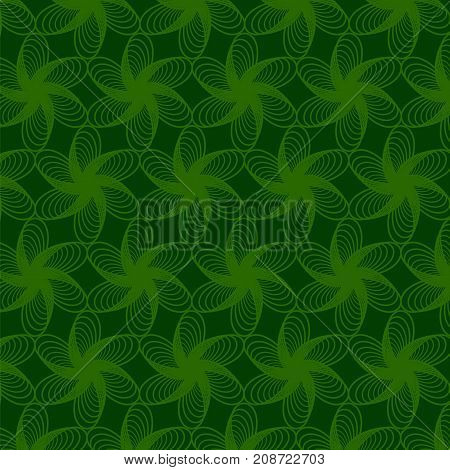 Floral Green Line Pattern. Decorative Repeated Structure.